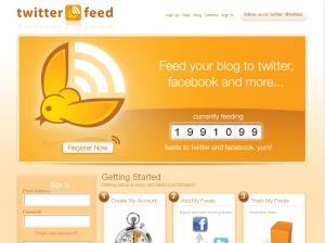 Captura de pantalla de Twitterfeed (twitterfeed.com)